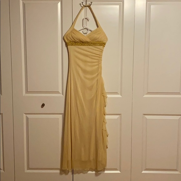 long yellow shimmery dress